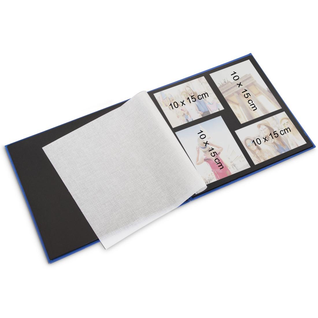 25 pages album /à spirales 24 x 17 cm 50 pages noires Hama Album photo Fine Art bleu avec d/écoupe pour y mettre une photo