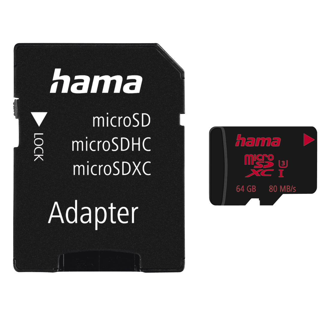 abx High-Res Image - Hama, Carte microSDXC 64GB UHS Speed Class 3 UHS-I 80MB/s + adapt./photo