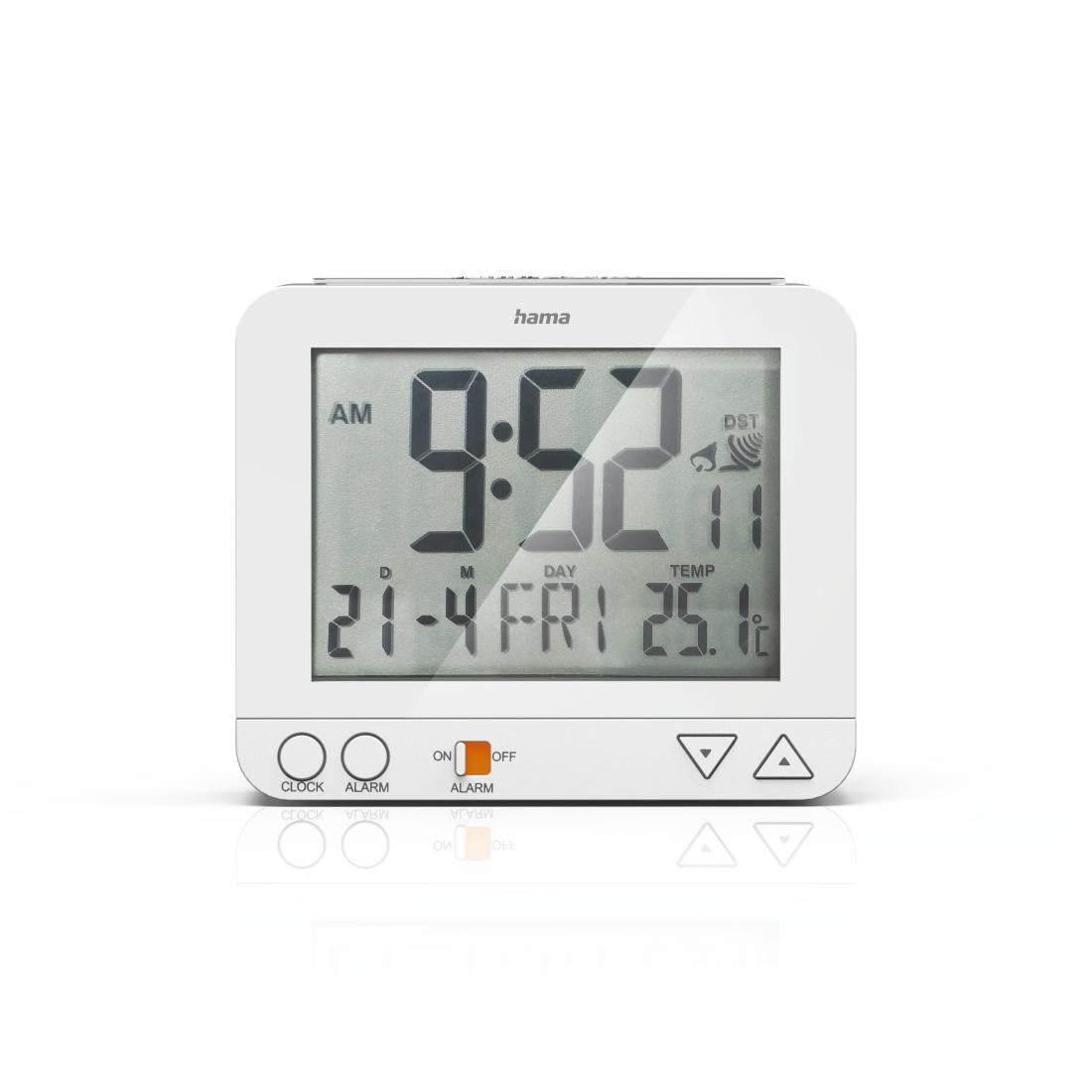 Hama Réveil radiopiloté RC 550 avec fonction veilleuse blanc