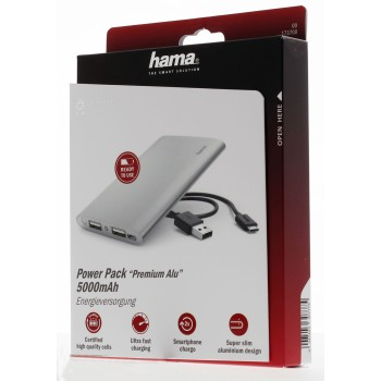 pac0 Package Websized (Front) - Hama, Power Pack Premium Alu, 5 000 mAh, argenté