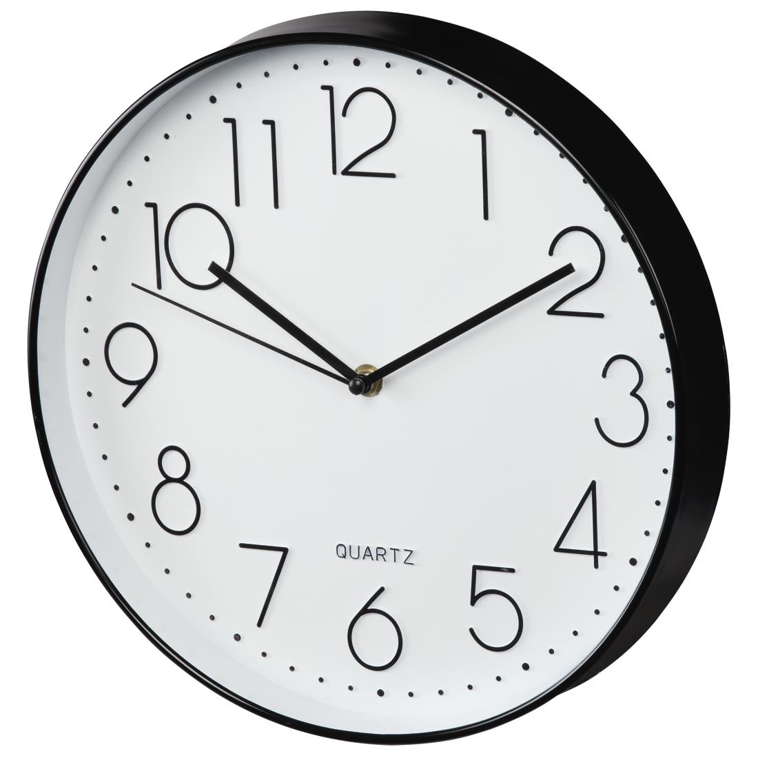 00176902 hama horloge murale elegance 30 cm silencieuse noire blanche. Black Bedroom Furniture Sets. Home Design Ideas