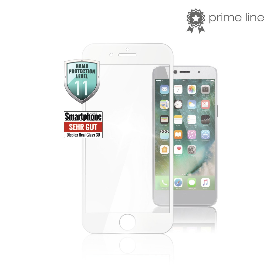 uax Printable Image Logo - Hama, Verre de protection Full-Screen 3D p. Apple iPhone 6/6s/7/8, blanc