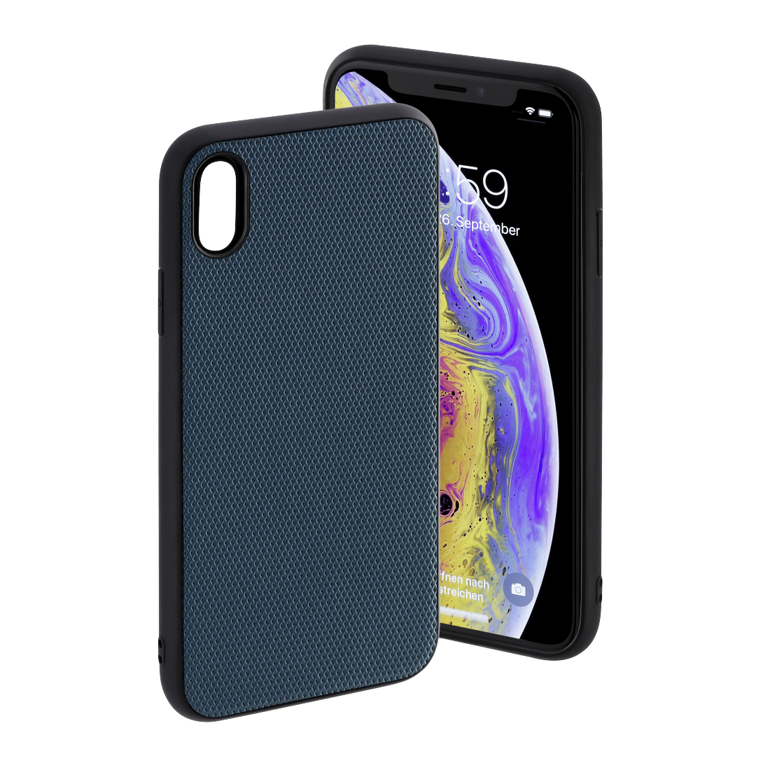 "abx High-Res Image - Hama, Coque de protection ""Rainbow"" pour Apple iPhone X/Xs, bleu pétrole"