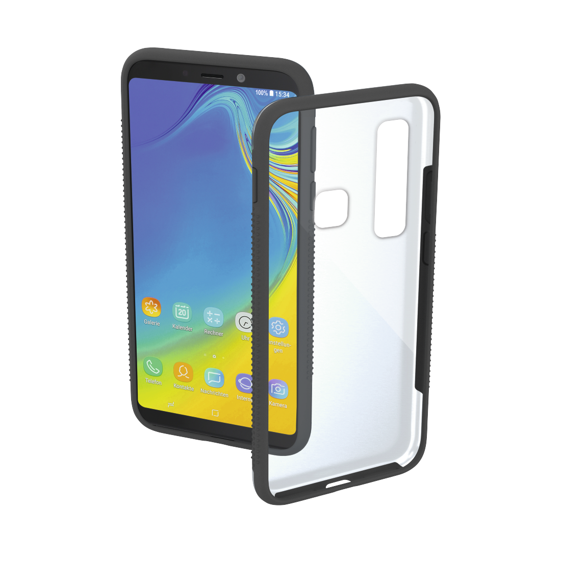 "abx High-Res Image - Hama, Coque de protection ""Frame"" pr Samsung Galaxy A9 (2018), transp./grise"