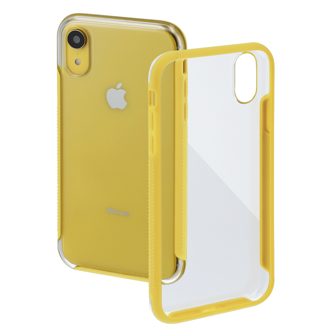 "abx High-Res Image - Hama, Coque de protection ""Frame"" pour Apple iPhone XR, transparente/jaune"