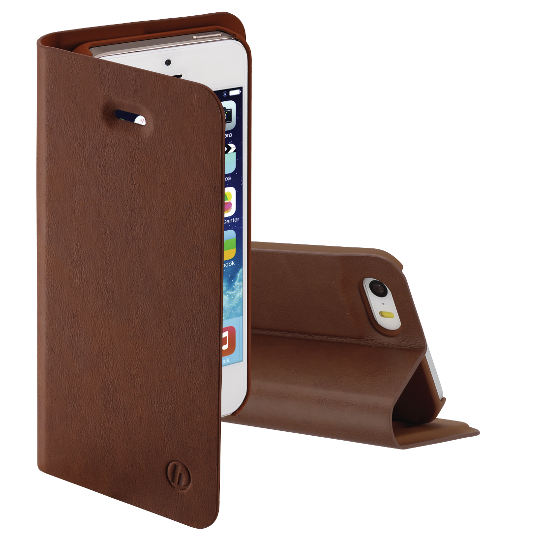 "abx High-Res Image - Hama, Étui portefeuille ""Guard Pro"" pour Apple iPhone 5/5s/SE, marron"