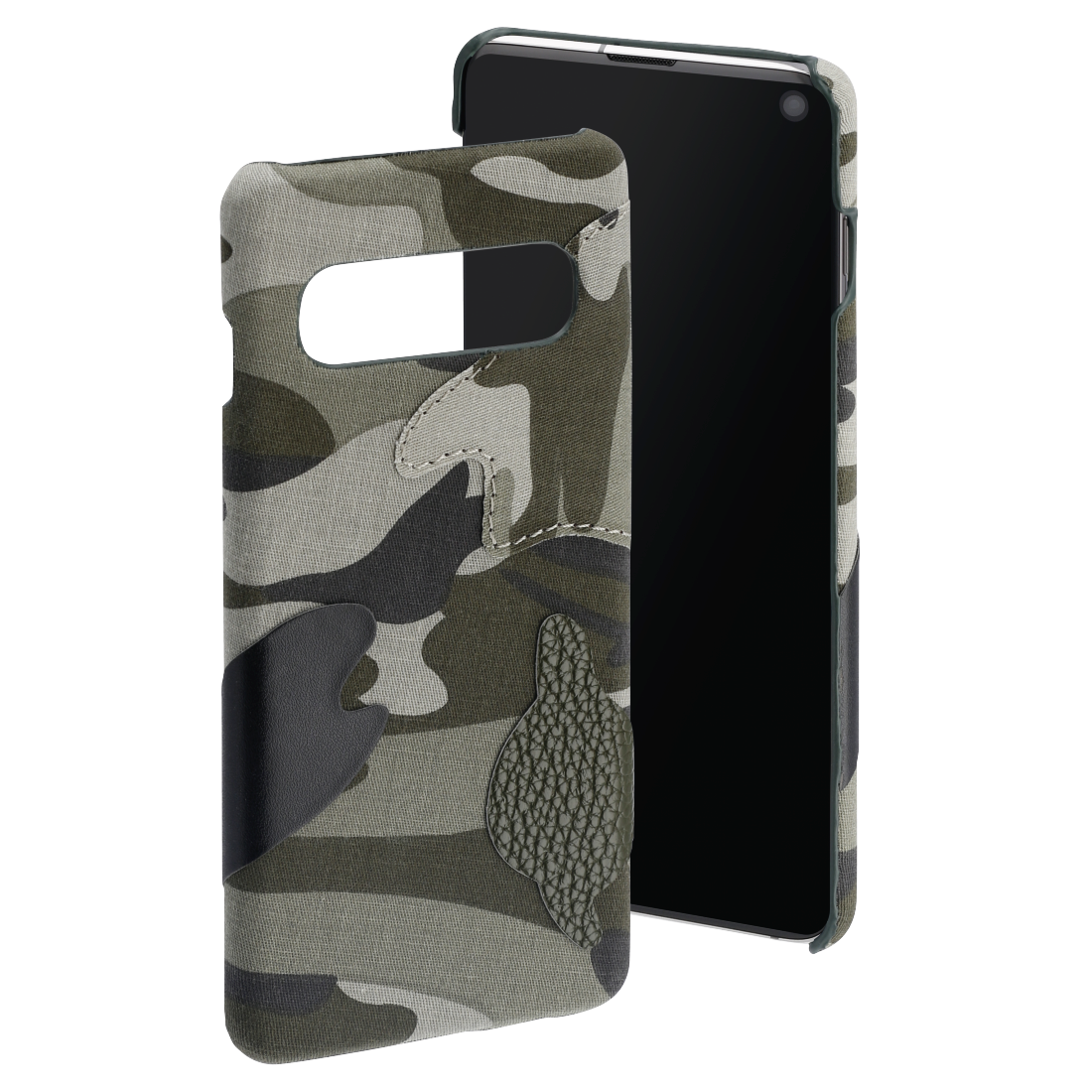 "abx High-Res Image - Hama, Coque de protection ""Camouflage"" pour Samsung Galaxy S10, verte"