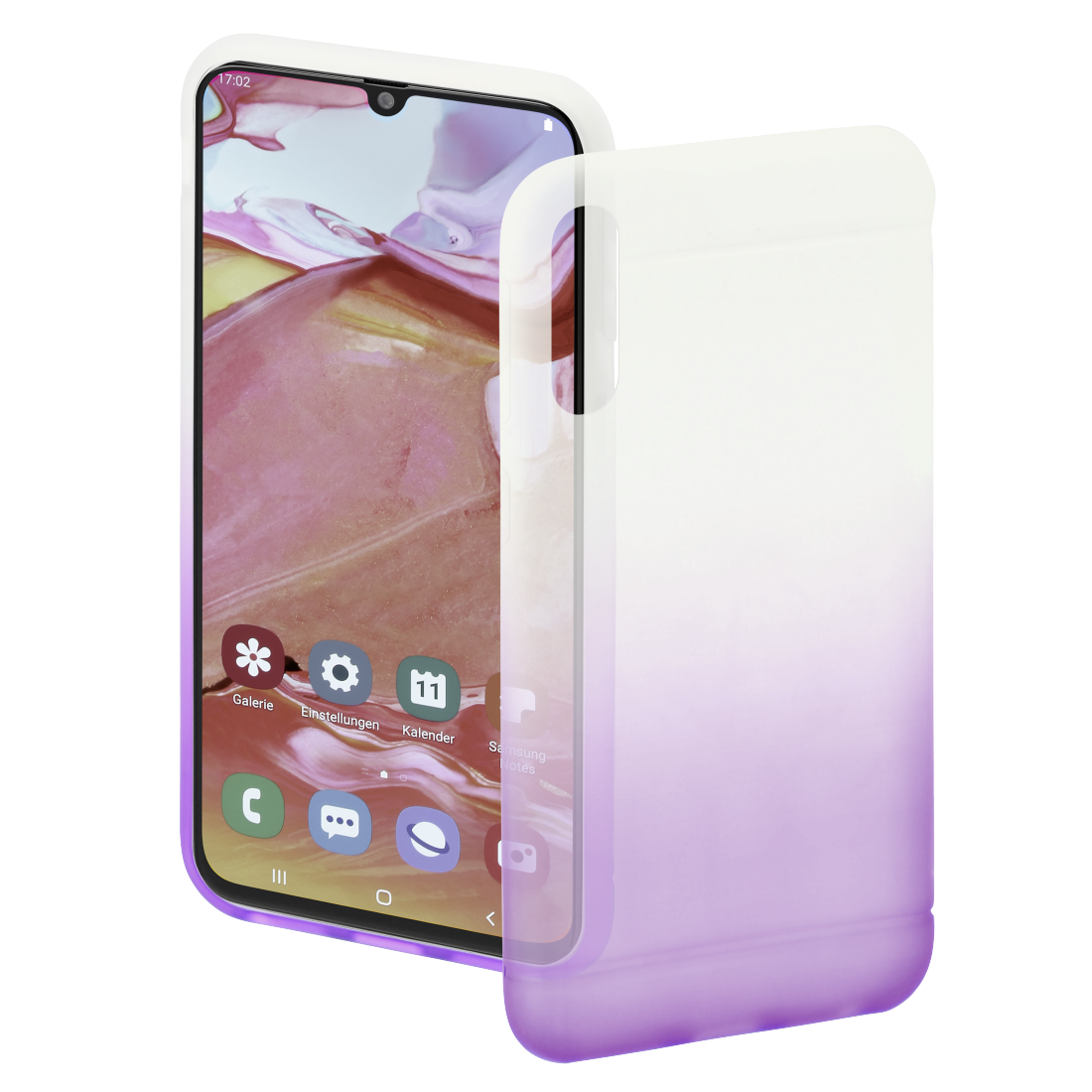 "abx High-Res Image - Hama, Coque de protection ""Colorful"" pour Samsung Galaxy A70, transp./lilas"
