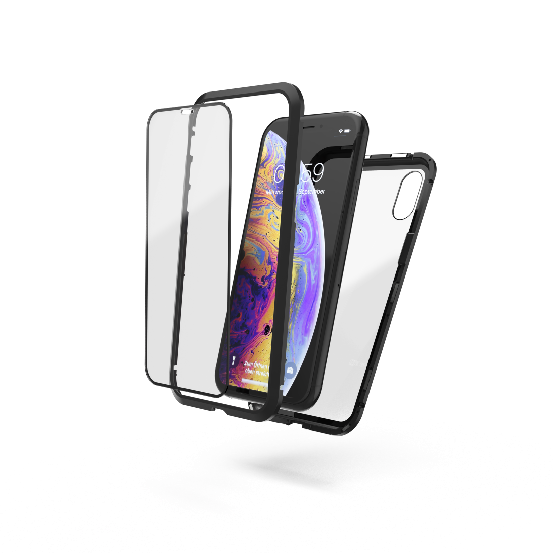 "abx High-Res Image - Hama, Coque de prot. ""Magn.+verre+verre protection"" pr iPhone X/Xs, nr/trp."