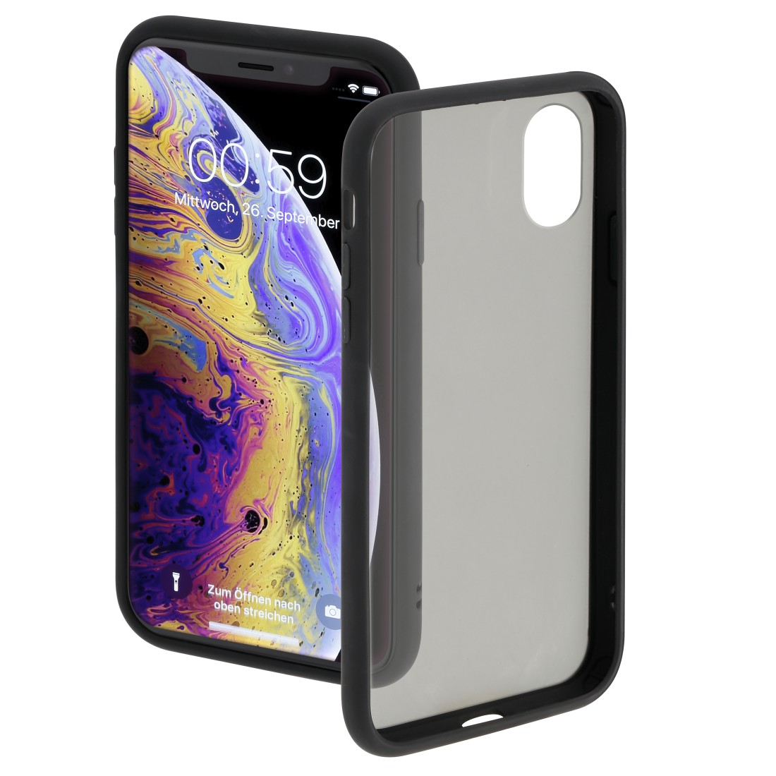 "abx High-Res Image - Hama, Coque de protection ""Invisible"" pour Apple iPhone X/Xs, noire"